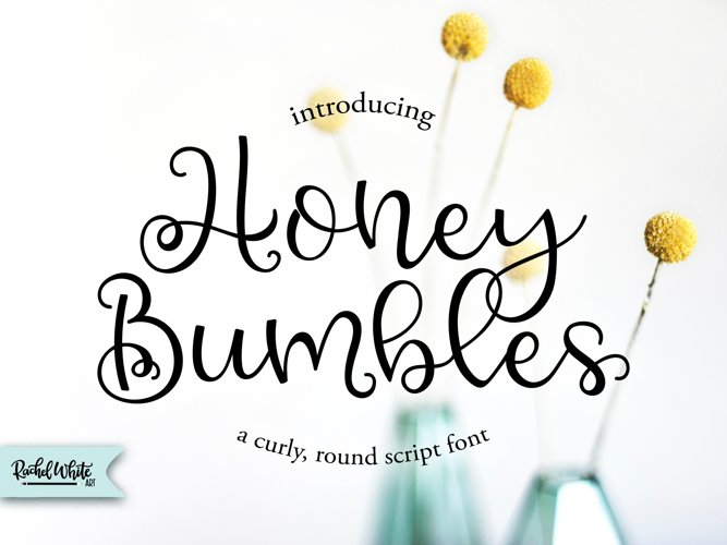 Honey Bumbles, a curly, round script font
