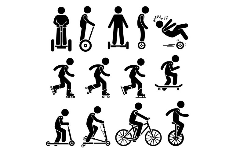 Park Ride Leisure Exercise Vehicles Stick Figure Pictogram example image 1