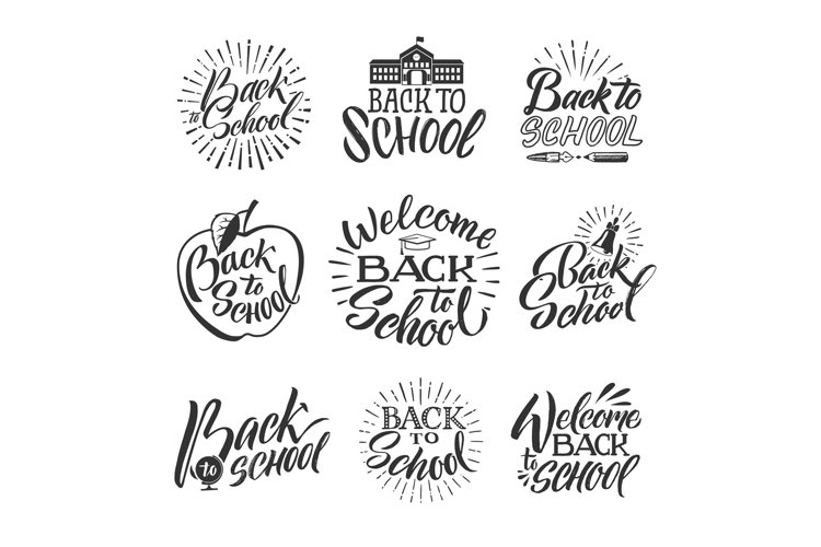 Back to school. Set of hand writing words and letters example image 1