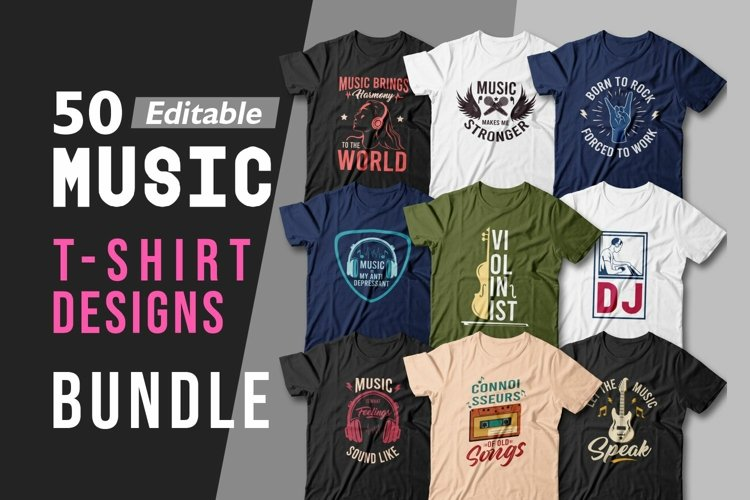 50 Music T-shirt Designs Bundle Sublimation Vector