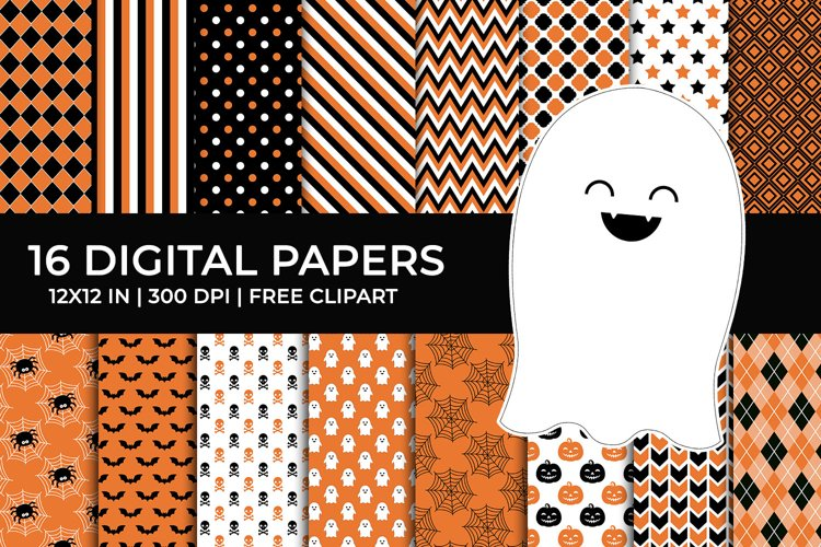 Halloween Digital Papers Set, Free Ghost Clipart example image 1