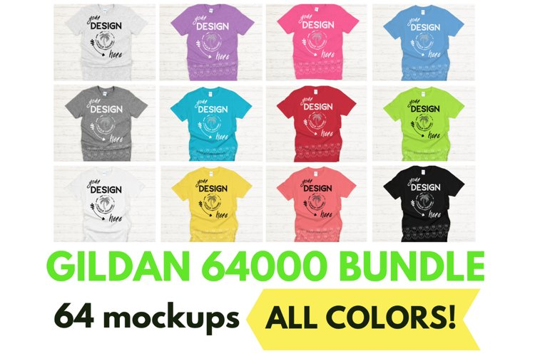 Gildan 64000 Mockup Bundle - Gildan Softstyle T-shirts