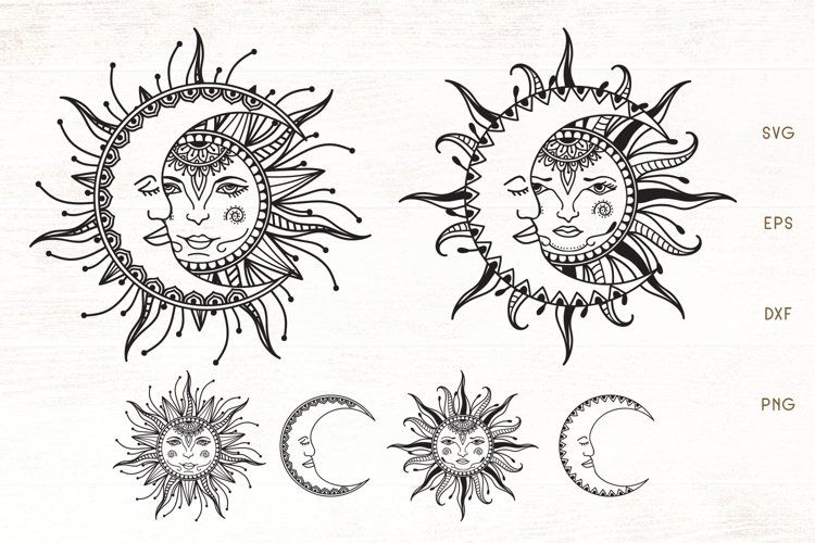 Sun and Moon Mandala - Zentangle Sun, Moon SVG example image 1