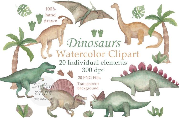 Watercolor dinosaur clipart Prehistoric clipart