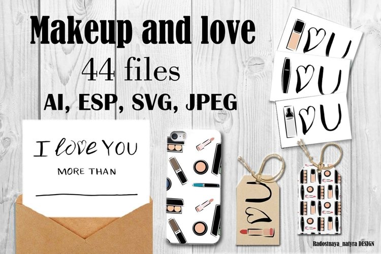 fashion lettering and simless pattern make up elements