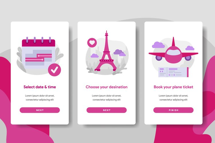 Onboarding screen template of Online Plane Ticket Booking example image 1