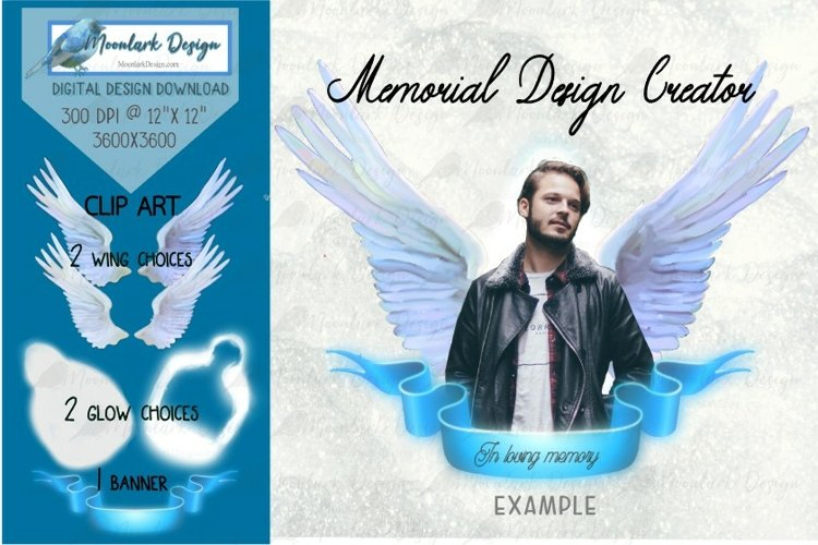 Memorial Design Creator, PNG for sublimation, Angel Wings