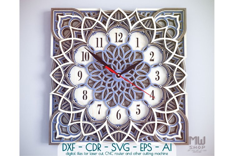 C12 - Laser Cut Wall Clock DXF, Mandala Clock, Wooden Clock example image 1