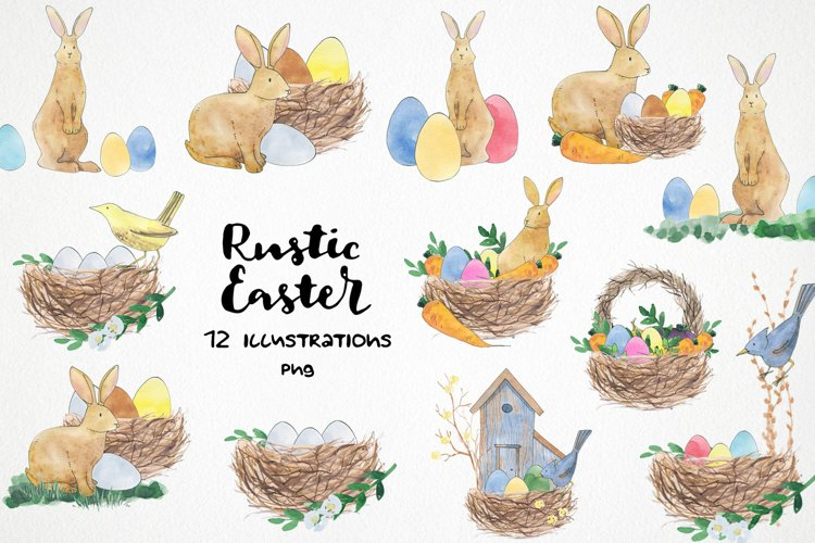 watercolor easter bunny png, rabbit easter basket, bird nest example image 1