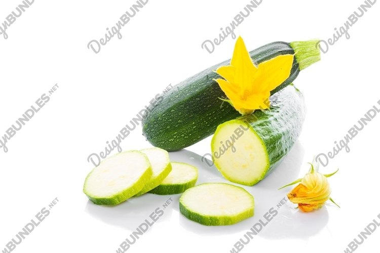Zucchini or green marrow squash with green leaves and flower example image 1