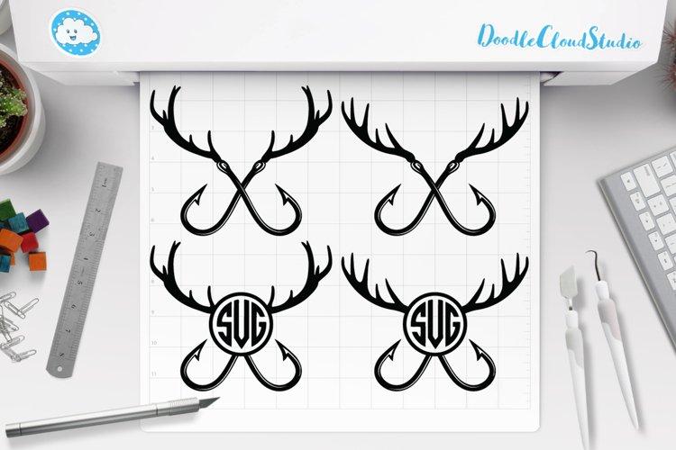 Download Fishing Hunting Svg Deer Horns And Hooks Svg Monogram 620902 Cut Files Design Bundles
