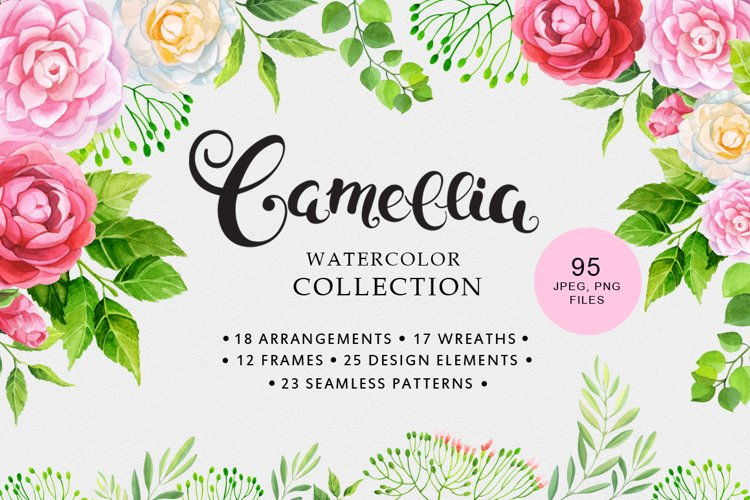 Camellia watercolor collection example image 1