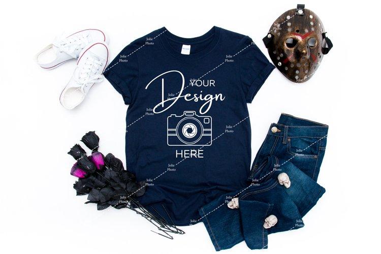 Halloween Mockup Gildan 64000 Softstyle Navy Blue T-shirt
