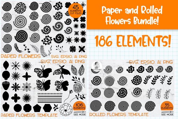 Rolled Paper Flower Templates SVG Bundle, Paper Flower SVG