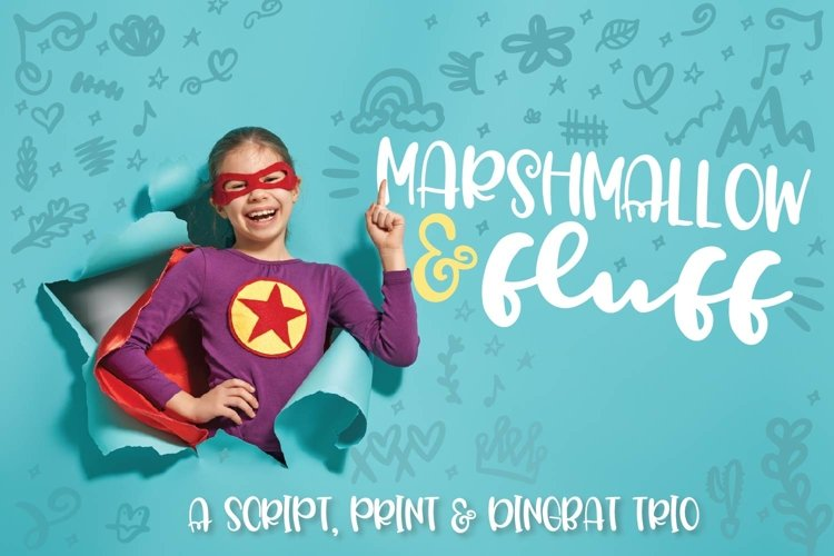 Marshmallow Fluff - A Script, Print & Dingbat Trio example image 1