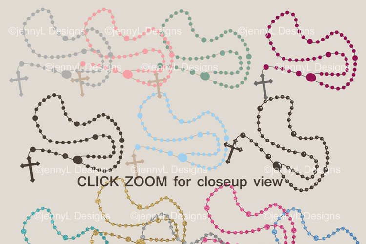 Holy Rosary Clipart, Glitter Rosary Cross Clipart for Baptism, Religious, 1st Communion, Confirmation, Religious, Christening Invitations, Holy Week example image 1