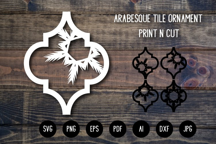 Arabesque Tile Christmas Ornament v.4. Lantern SVG Cut File example image 1
