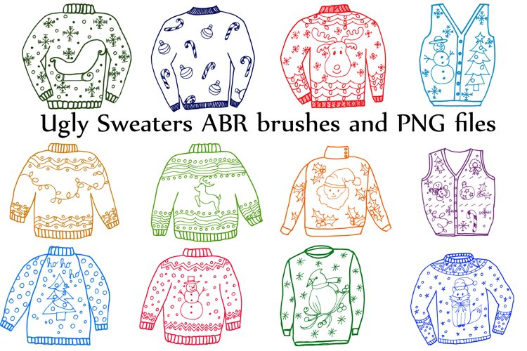 Ugly Sweater ClipArt and ABR brushes example image 1
