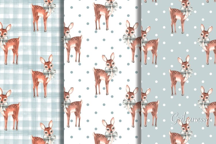 Set of 5 cute watercolor patterns with fawns example image 1