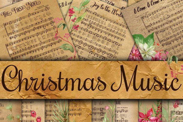 Vintage Christmas Music Digital Paper