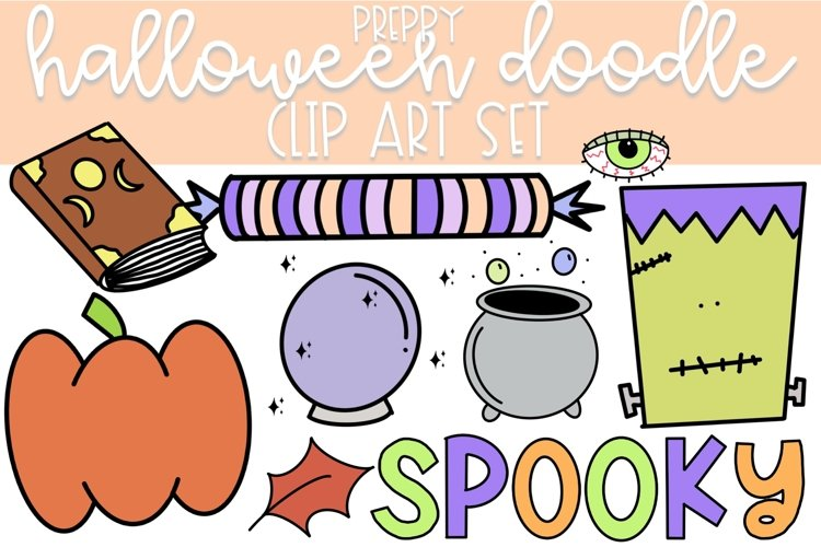 Preppy Halloween Doodle Clip Art | Color and Black and White