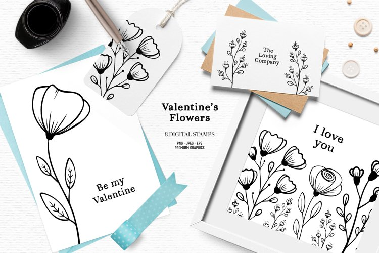 Hand drawn floral digital stamps | Cute Valentines clipart
