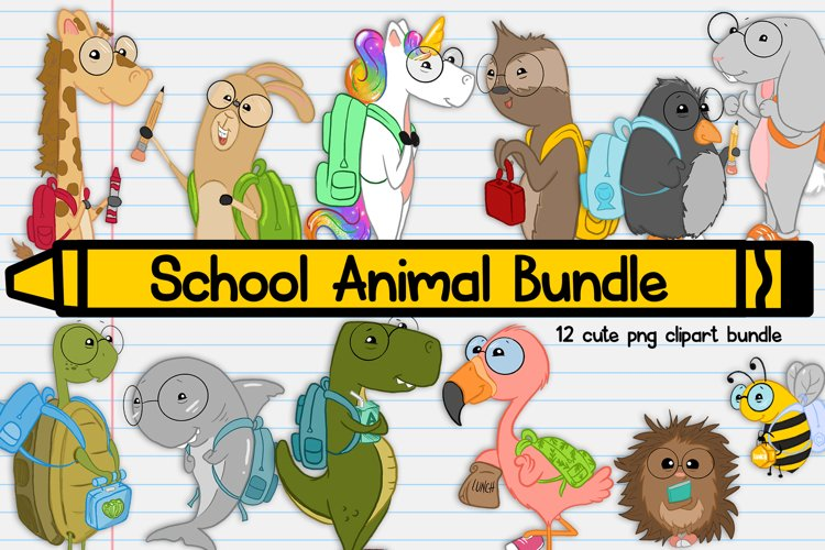 School Animals  Back to School Illustration  School Clipart
