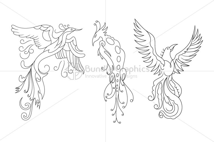 Phoenix - The bird of fire Vector Drawings  example image 1