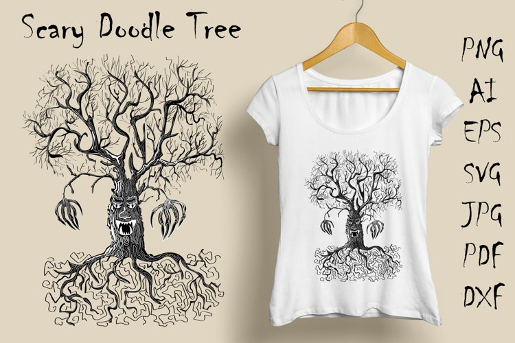 Hand drawing scary tree in doodle style example image 1
