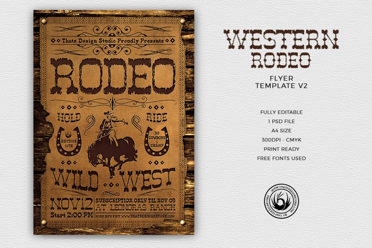 Western Rodeo Flyer Template V2 example image 1