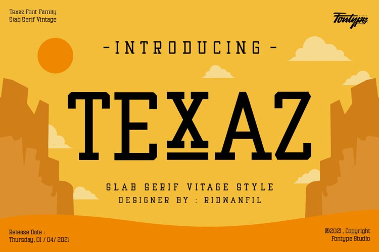 Texaz Font Family - Slab Serif Vintage Font Style example image 1