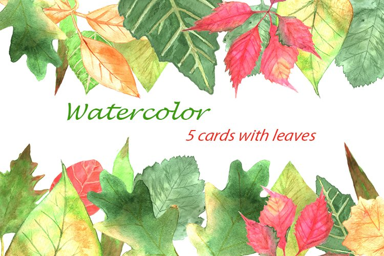 Cards with autumn leaves. example image 1