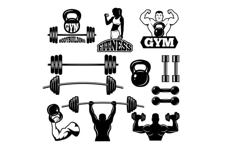 Badges and labels for gym and fitness club. Sport symbols in example image 1