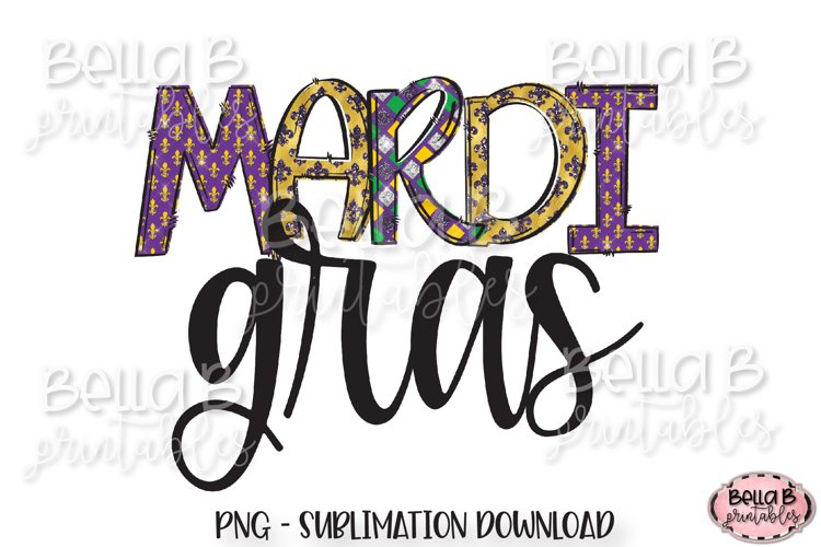 Mardi Gras Sublimation Design, Doodle Letters example image 1