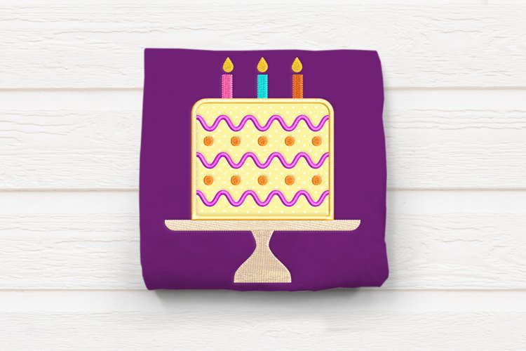 Birthday Cake on Stand Applique Embroidery Design