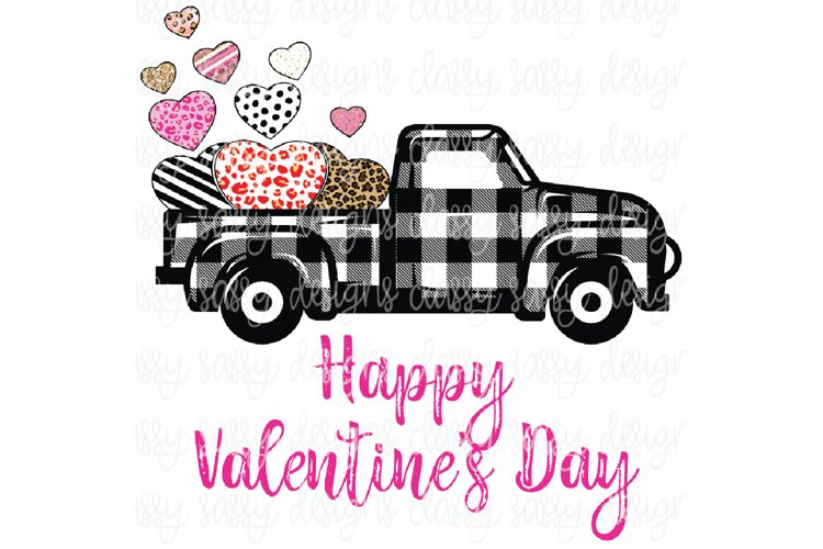 Happy Valentines Day Plaid Truck with Hearts