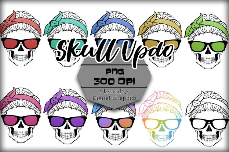 Glitter Skull Updo Clip Art