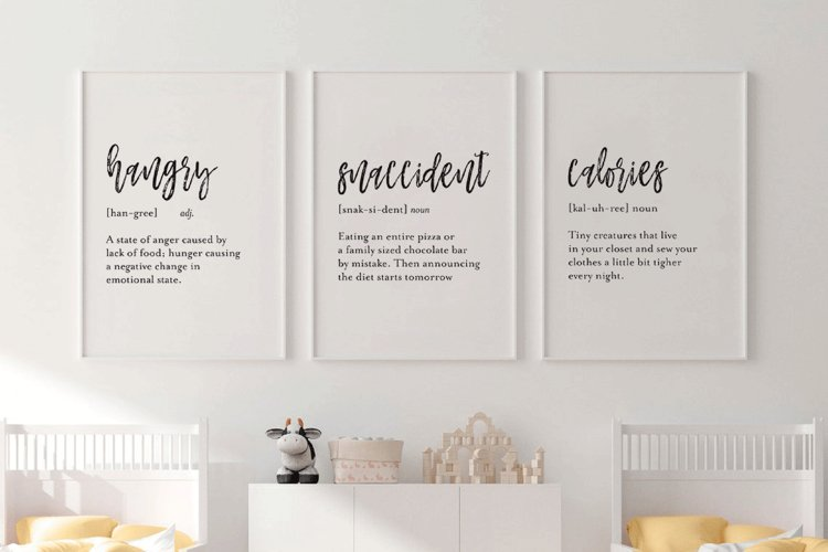 Kitchen Wall Decor, Set Of 3 Kitchen Definition Signs example image 1