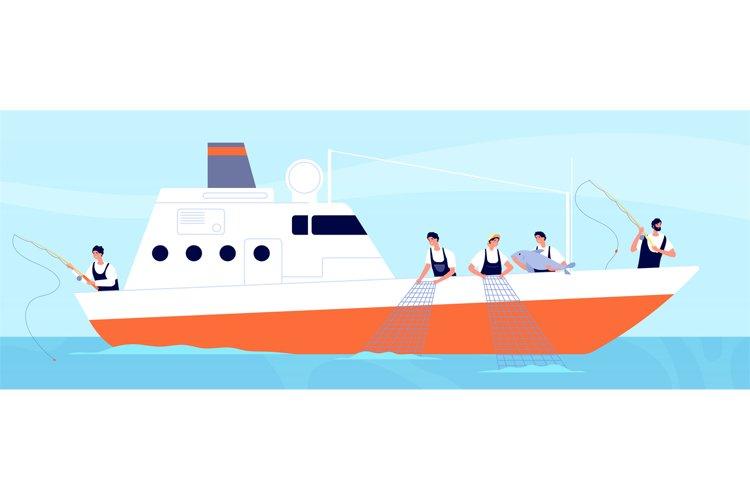 Fishery season. Fishermen on boat, commercial fishery ship i