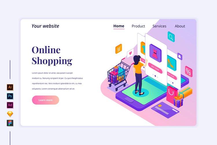 Isometric Online Shopping Landing page illustration