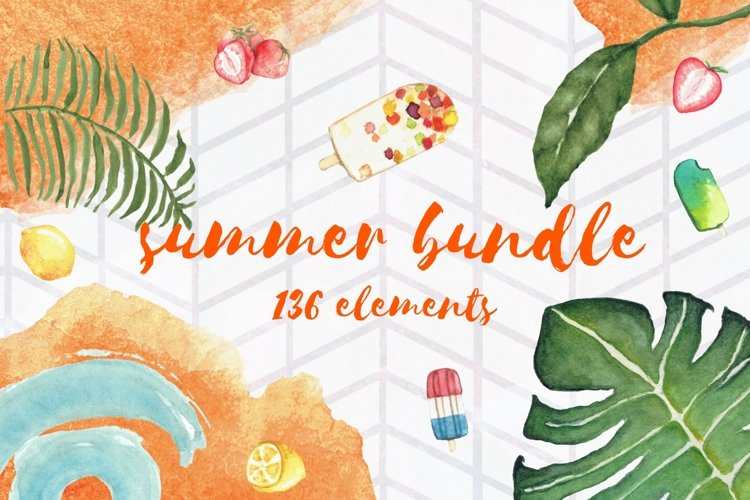 Summer Bundle - watercolor illustrations example image 1