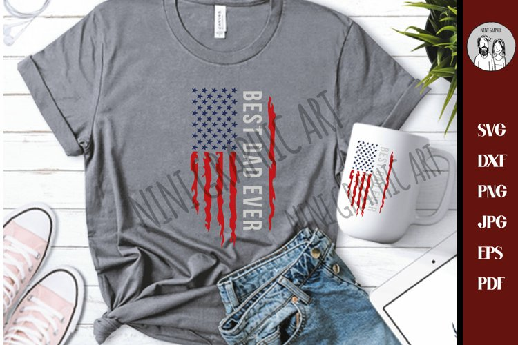 Best dad ever USA flag Grunge SVG Dxf Png Jpg, CutFile,