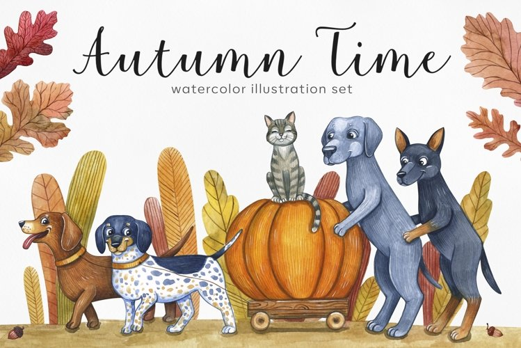 Dog's autumn. Watercolor set illustrations. Cute dog. example image 1