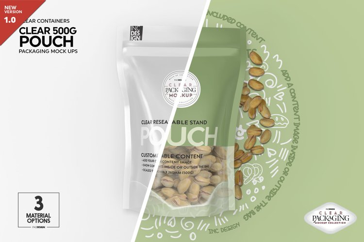 Clear 500g Pouch with Foil or Paper Options Packaging Mockup