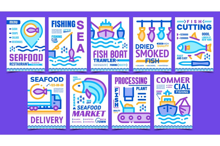 Fishing Industry Advertising Posters Set Vector example image 1