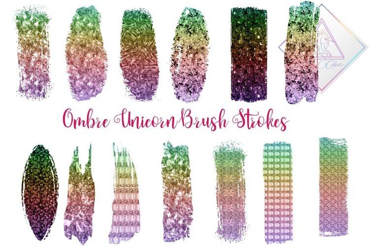 Ombre Unicorn Brush Strokes Clipart example image 1