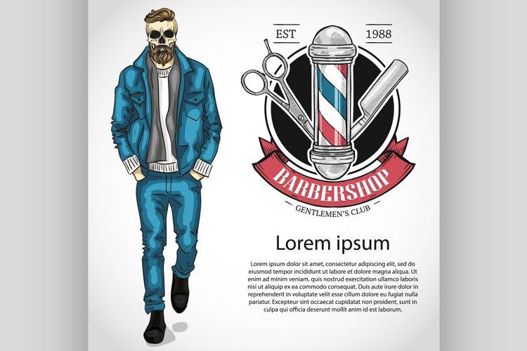Barbershop flyer with scissors, pole, dangerous razor example image 1