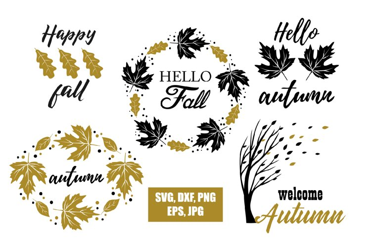 Fall wreath Svg Fall Cut Files Leaves Wreath svg Hello Fall Svg Commercial use Autumn Svg Fall Quote Svg Hello Autumn Svg