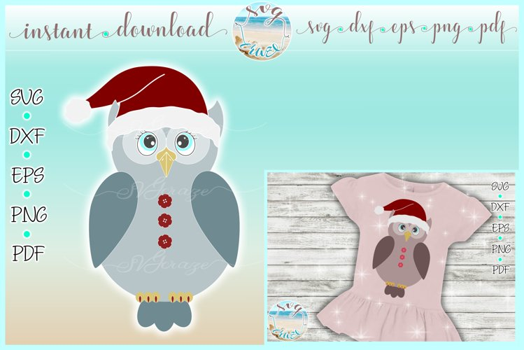 Girly Owl with Santa Hat SVG Dxf Eps Png PDF Files example image 1