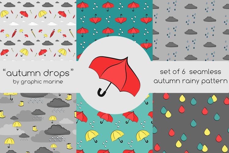 Set of 6 seamless vector patterns Autumn drops